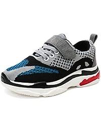 Qianliuk Kinder Trainer Kinder Velcro Flache Schuhe Leicht Atmungsaktive Mode Sportschuhe im Alter von 4-16 Jahre Alt Bvp8K6