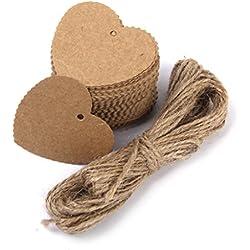 100 Etiquetas de Carton forma corazón marrón con cuerda de Yute