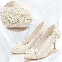 VIVIOO Tacón Alto Bordado De Perlas Artesanal Talón Fino Blanco Zapatos De Tacón Alto Vestido De Novia De La Novia Cena De Encaje Ligero Zapatos De Mujer,5.5