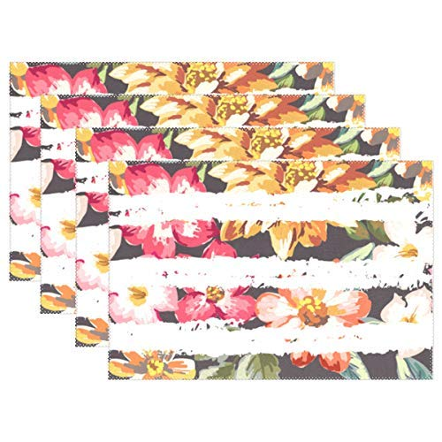 Colorful Garden Tree Flowers Placemats Cute Butterfly Dogs Puppy Table Mats Non-Slip Washable Heat Ristant Place Mats for Kitchen Dining Decor Tray Mat Set of 4 - Butterfly Garden Tray