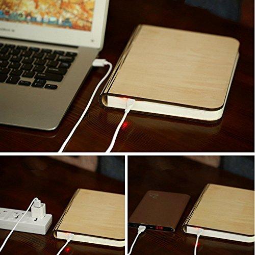 Lampada da tavolo a libro pieghevole in legno, batterie ricaricabili al litio ricaricabili da 2500 mAh USB ricaricabile da tavolo Lampada da tavolo per arredo, nuovo regalo di compleanno per donna - 3