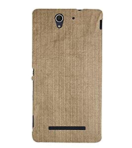 EPICCASE Cream cloth Mobile Back Case Cover For Sony Xperia C3 (Designer Case)