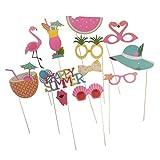 Segolike 11pcs /Set Hawaiian Tropical Flamingo Photo Booth Props Party Decoration