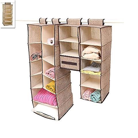 Szjsl Home Hanging Clothes Storage Box (5 Shelving Units) Friendly Closet Cubby,Storage bags, Sweater & Handbag Organizer - Keep Your Wardrobe Clean & Tidy.
