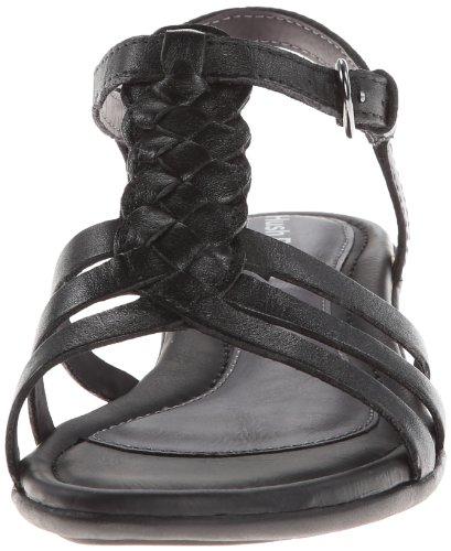 Hush Puppies Nishi T-strap Robe Sandal Black Leather