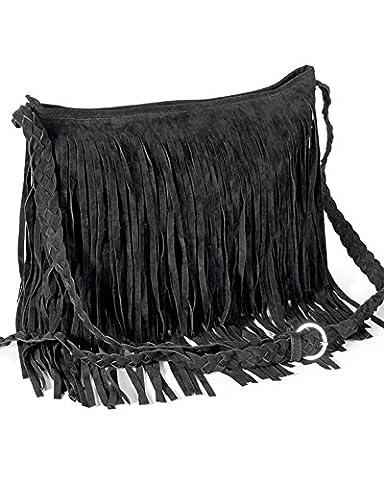 Ladies Fringed Cross Body Suede Tassel Bag (Black)