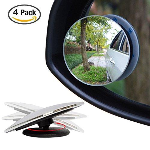 4pezzi laptop 5,1cm Blind spot specchi, Ampper rotazione a 360° + 30° Sway Adjustabe HD vetro convesso grandangolare retrovisore auto SUV motocicletta universale da incollare Lens