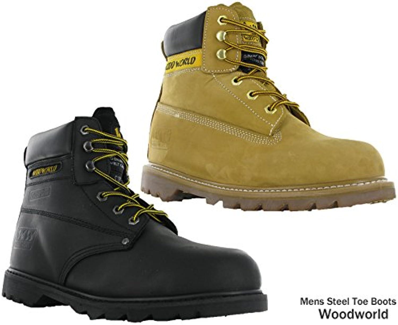 Goodyear Piel Puntera de acero de seguridad de woodworld acolchado botas de trabajo para hombre