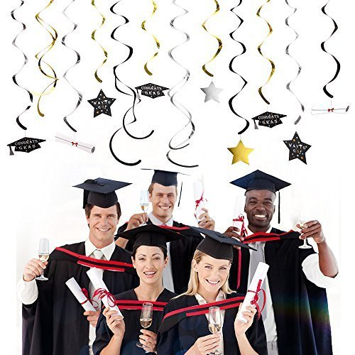 KUUQA Graduation Hängende Swirl Dekorationen 2017 Graduation Theme Party Supplies, Set von 34 (Schwarz/Golden/Silber)