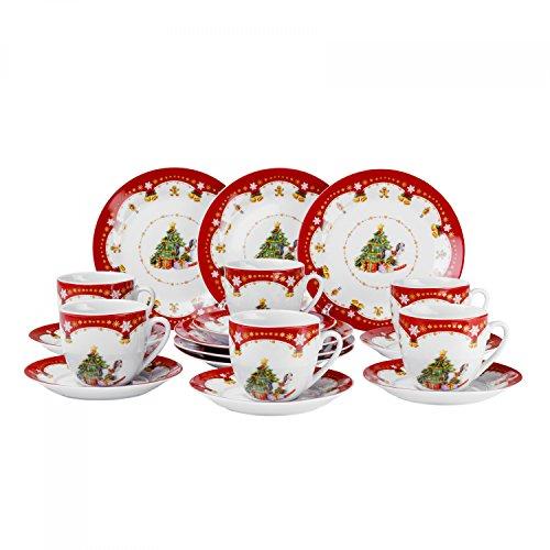 Kaffeeservice Weihnachtszauber 18tlg. für 6 Personen weiß mit Weihnachtsdekor