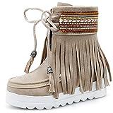 Phy Shoe Autumn Wedges Fringe Boots Europe and America Wasserdichte High Heel Booties Large, Schwarz, 36
