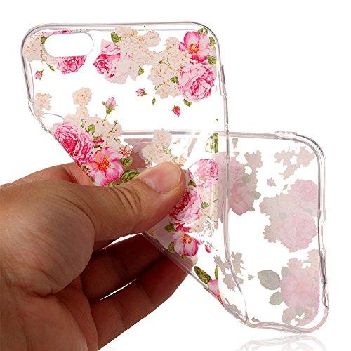 Slynmax Ultra Thin Trasparente TPU Cover per iPhone 6s Plus Custodia Silicone Caso Colorato Molle di Morbido Sottile Gel Transparent Bumper Case Protettiva Caso Chiaro Copertura Slim Thin Skin Shell P Peonia
