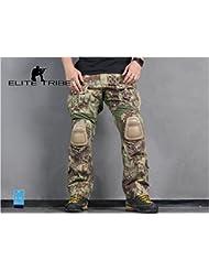Elite Tribe Airsoft Caza táctico Pantalones Combate G3 Pantalones con Rodilleras Mandrake (M(32