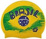 Arena Silicona Print 2 Gorro de Natación, Hombre, Multicolor (Flag/Brasil), Uni