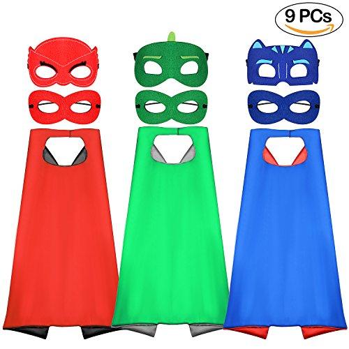 apes und Masken für Kinder Dressing Up Umhänge für Jungen und Mädchen als Geschenk für Geburtstag und Kinder Kostüme Party mit 3 Pack Superhelden Capes und 6 Pack Masken (Superhelden Cape Rot)