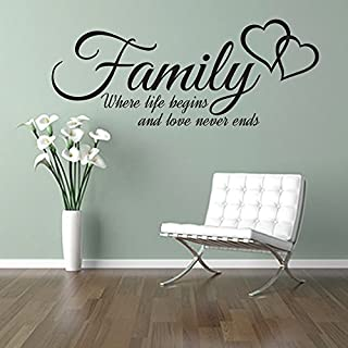 FAMILY where life begins and love never ends, quote wall art sticker decal words, BLACK, 100x40 cm