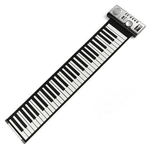 LEANING TECH PORTATIL 61 TECLAS ROLL-UP PIANO USB MIDI ELECTRONICA SOFT DE TECLADO MANO ROLLES ROLL PIANO PLATA DC 6 V