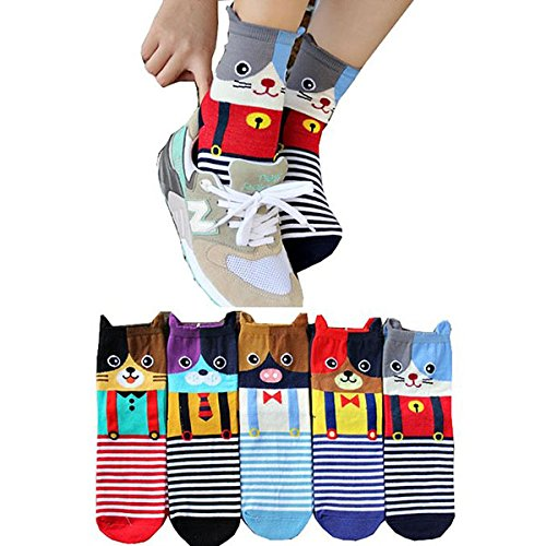 PIXNOR Baumwoll-Socken - PIXNOR 5 Paar Cartoon Tier Socken Rohr (5 Tiere) (Rohr Socken Baumwolle)