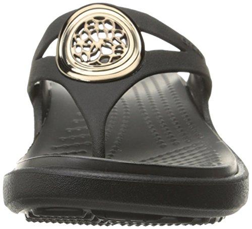 Crocs - - Sanrah Cercle des femmes Wedge flip Black/Graphite