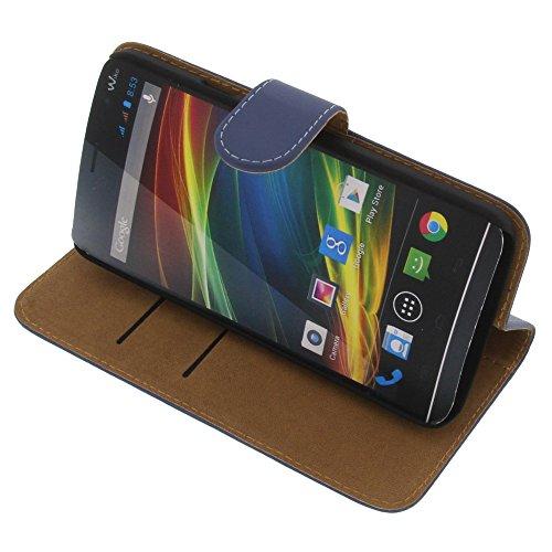 Tasche für Wiko Slide Book Style blau Kreditkarte Schutz Hülle Buch
