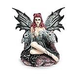 Les Alpes Orig. Fata Gotica Clair Seduta con i Suoi Gufi, Collezione Fairy Land, Altezza 28 cm - Statuetta Figura Dipinta a Mano - 042 734
