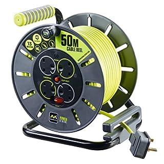Masterplug OLU50134SL-PX Pro-XT 13A 4 Gang Open Reel, 50 Metre Cable Length, Green, Medium