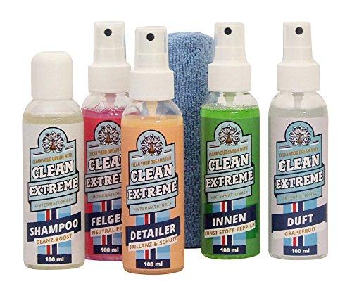CLEANEXTREME Kennenlern-Set - Autoshampoo mit Wachs, Felgenreiniger, Auto Detailer, Innenreiniger, Lufterfrischer Duft Grapefruit, Mikrofaser-Poliertuch