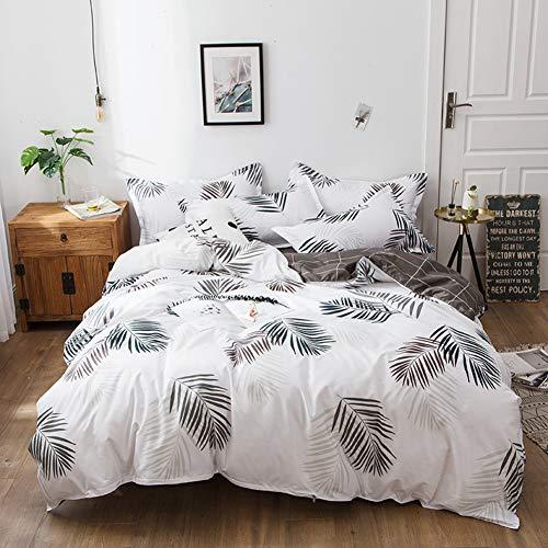 Treer Bettwäsche Set 4tlg, Kopfkissenbezüge, Bettdeckenbezug und Bettlaken Bettbezug Set Mikrofaser Gemütlich Bequem Hypoallergen Weich und Haltbar Atmungsaktive- Tropisch (Weiß,240x220cm) -