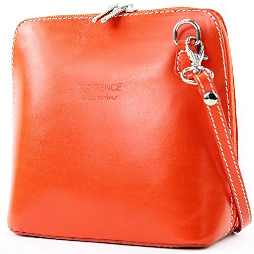 modamoda de - ital. Ledertasche klein Damentasche Umhängetasche Citytasche Rindsleder T94 Orange