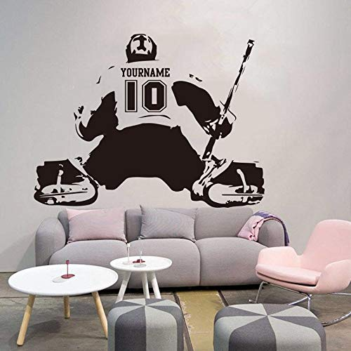 CECILIAPATER Hockey-Toralie-Wandaufkleber, personalisierbar, Name Nummer Eishockey-Aufkleber, Vinyl, Heimdekoration