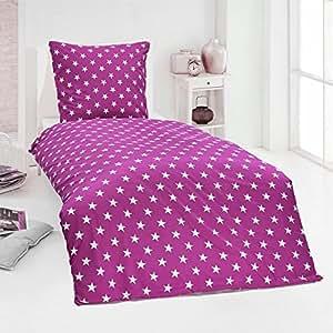Dreamhome24 Hochwertige Microfaser Bettwäsche Bettbezug Sterne Stars pink blau 135x200 80x80, Design - Motiv:Design 4