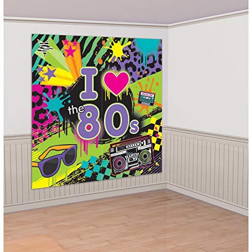 """amscan Wand-Deko 1,65x 82,5cm \""""Totally 80s Szene Setter Kit"""