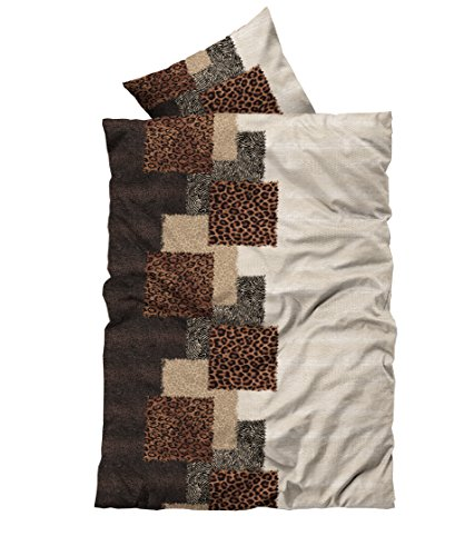 Leonado-Vicenti 4 tlg Flausch Bettwäsche 135 x 200 cm Winter Afrika Braun Thermofleece