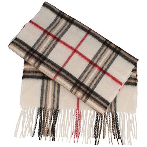 Schal aus 100% Cashmere für Damen & Herren - 180 x 30 cm - mit großem Karo-Muster & Fransen - super weich & bequem - Natur