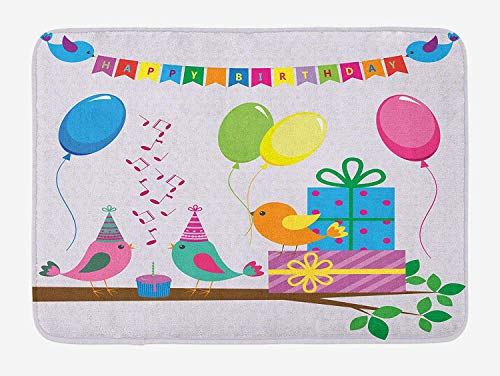 Bath Mat, Singing Birds Happy Birthday Song Flags Cone Hats Party Cake Celebration, Plush Bathroom Decor Mat with Non Slip Backing, 23.6 W X 15.7 W Inches, Multicolor ()