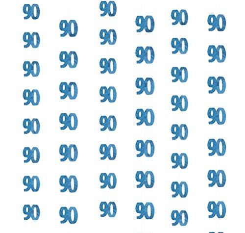 py Birthday 13-100Th String, glitzernd, für Jungen und Mädchen, 152 cm, blau, Milestone:90th ()
