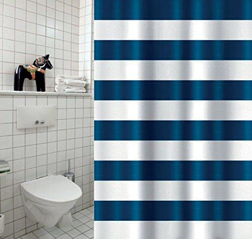 """Cotexsa by MSV 142108 Premium Anti-Schimmel Textil Duschvorhang - Anti-Bakteriell mit 12 Duschvorhangringen - Polyester, """"Marinera"""" Blau, Weiß 180x200cm - Made in Spain"""
