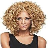 Synthetische Afro Lockige Haare Perücken Für Schwarze Frau Kurze Geile Haarjet Schwarze Hitze Widerstands Faser 40Cm,Gold