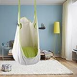 Leiyini - Amaca per bambini, sedile pensile, altalena con cuscino, per esterni e interni, bianco