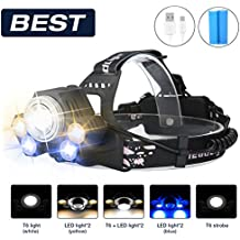 Super Bright LED Torch Sgodde LED Head Lamp With 5LED 8000Lm with Built-in Battery Head Light 5Modes perfect for camping, mountain biking, fishing, Cellar, Running, Camping, Hiking and Spaziereng