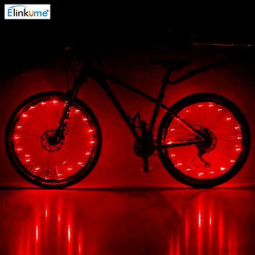 ELINKUME Bike Fahrrad sprach Lichter wasserdichte 2 Modi Radfahren Rad Reifen Lichter Stahldraht Felge 20 LED Blitzlicht (rot)