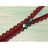 F J Fusion Fancy Lace Reißverschluss mit Antik Messing Abzieher 30cm rot–Pro Zip