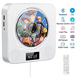 Portable CD DVD Player, La'prado Wall Mountable Bluetooth CD/DVD Music Movie Player with 4K HDMI,HiFi Speakers ,Remote Control ,FM Radio USB MP3, 3.5mm Headphone Jack Home Audio Boombox Gifts
