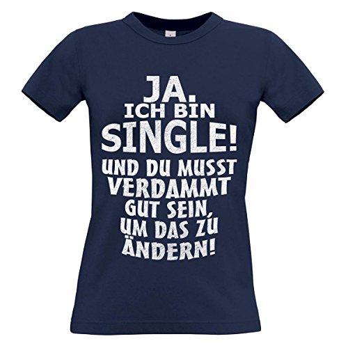 Damen T-Shirt Modell: Ja ich bin Single 02 - navy
