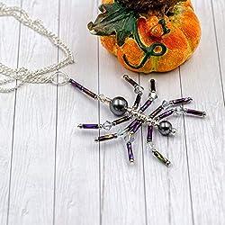 Kette Anhänger Spider|aus Glasperlen und Swarovski Elements|Kette versilbert|ideal für Halloween, Fasching oder Themenpartys