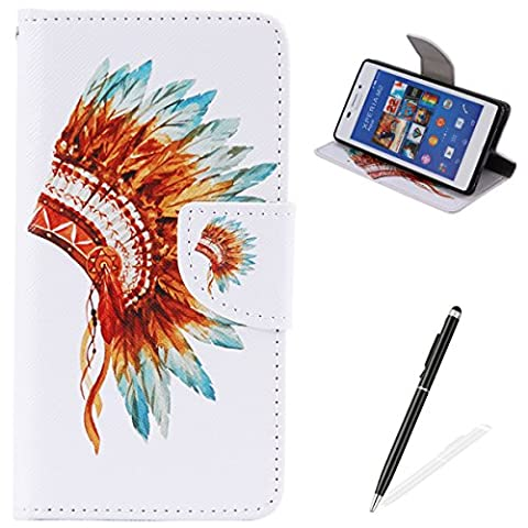 Feeltech Sony Xperia M2 Book Style Case,PU Leather Wallet Case Magnetized Closure Card Slots Money Pouch [Free 2 In i Stylu] Hybrid With Stand Function Flip Protective Soft Inner Bumper Cover Case And Credit Holder Lovely Pattern Design For Sony Xperia M2 - Colorful