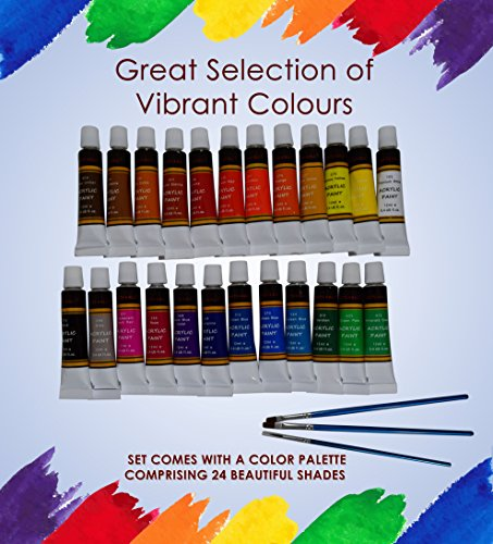 Acrylic paint 24 Set by Crafts 4 All® For Paper,canvas,wood,ceramic,fabric & crafts.Non toxic & Vibrant colors.Rich Pigments With Lasting Quality – For Beginners, Students & Professionals artist