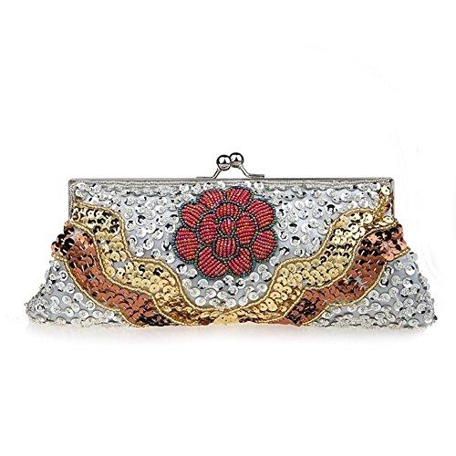 Fiori festa moniliforme clutch bag/pacchetto Cena/Borsa/ borsa di paillettes stile folk-E E