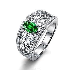 Idea Regalo - JiangXin Creato gemma verde smeraldo anello di cavo a banda larga per le donne / uomini
