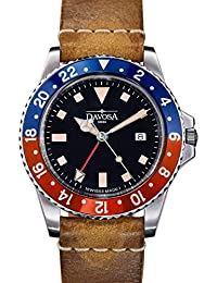 Davosa Quartz Swiss Vintage Diver Pepsi Leather Strap Watch 16250095